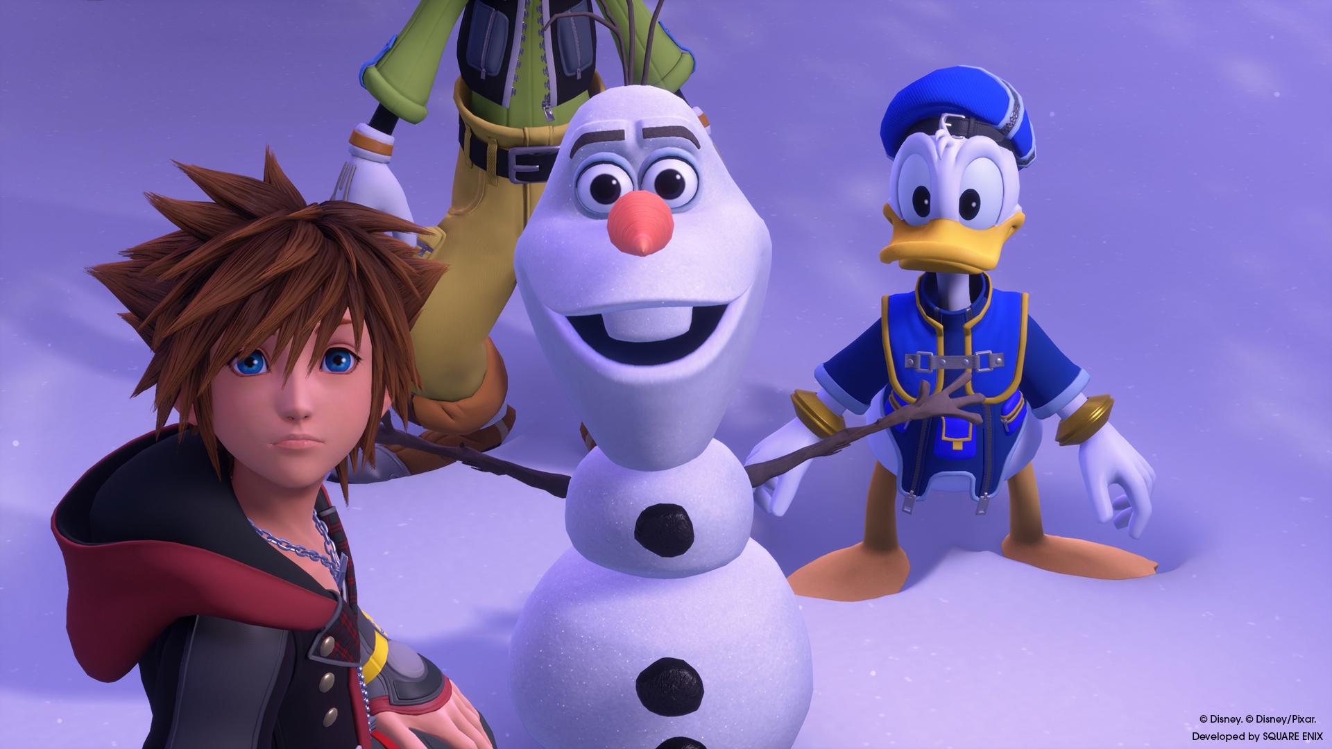 """Disney-Remix in Kingdom Hearts III: Wenn Goofy und Donald auf Olaf aus """"Die Eiskönigin"""" treffen."""